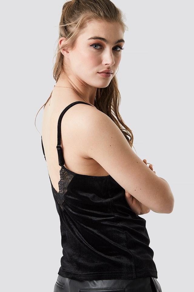 Velvet Lace Singlet Black