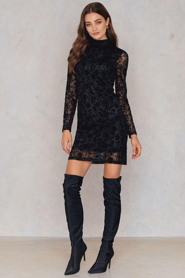 Velvet print dress Black