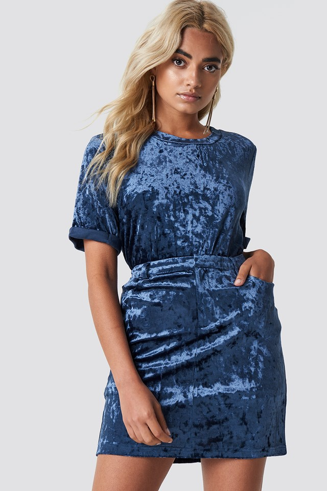 Aksamitna spódnica Stone Blue