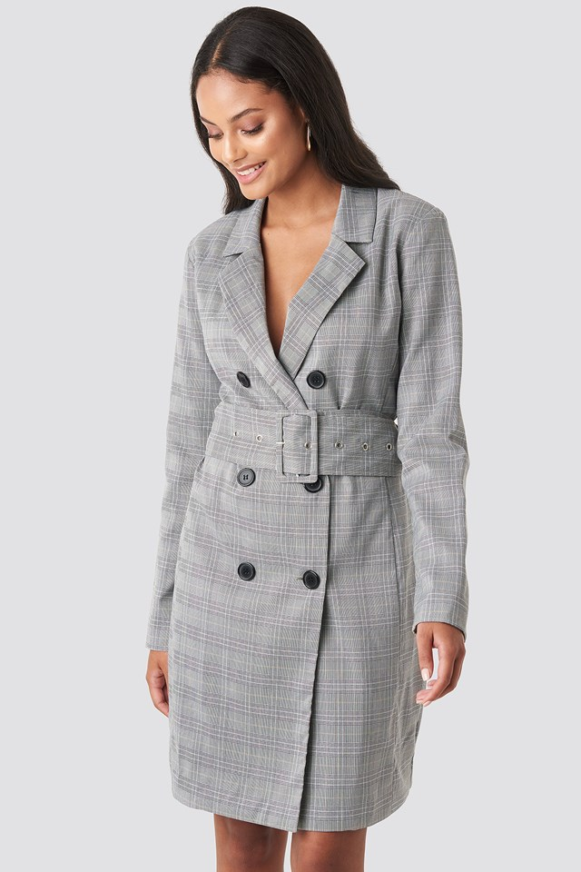 Vendela Blazer Dress Grey Check