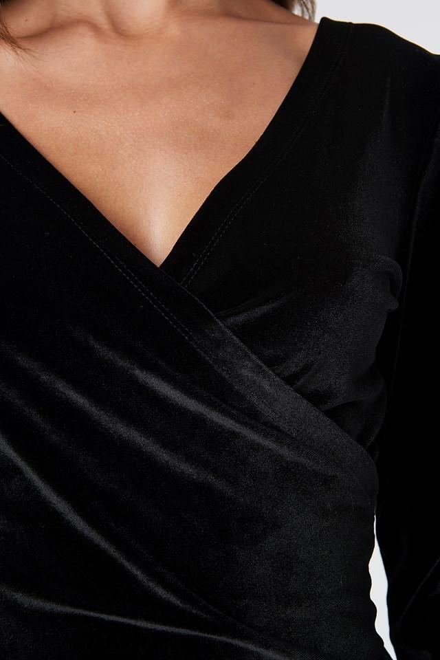 Wrinkle Velvet Dress Black