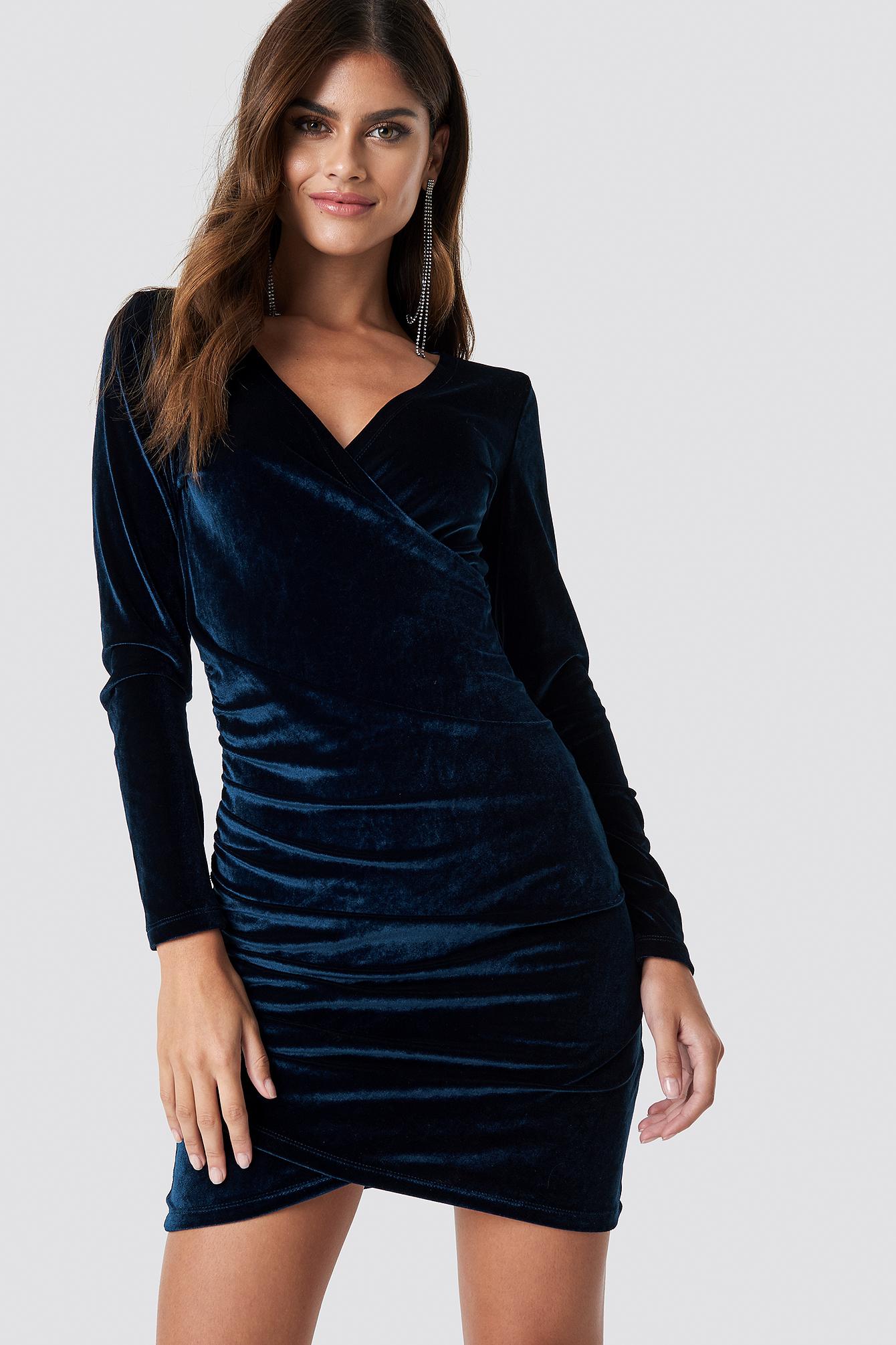 Wrinkle Velvet Dress NA-KD.COM