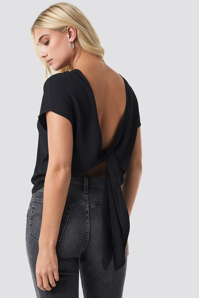 Back Knot Blouse Black