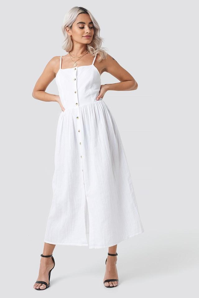 Button Field Dress White