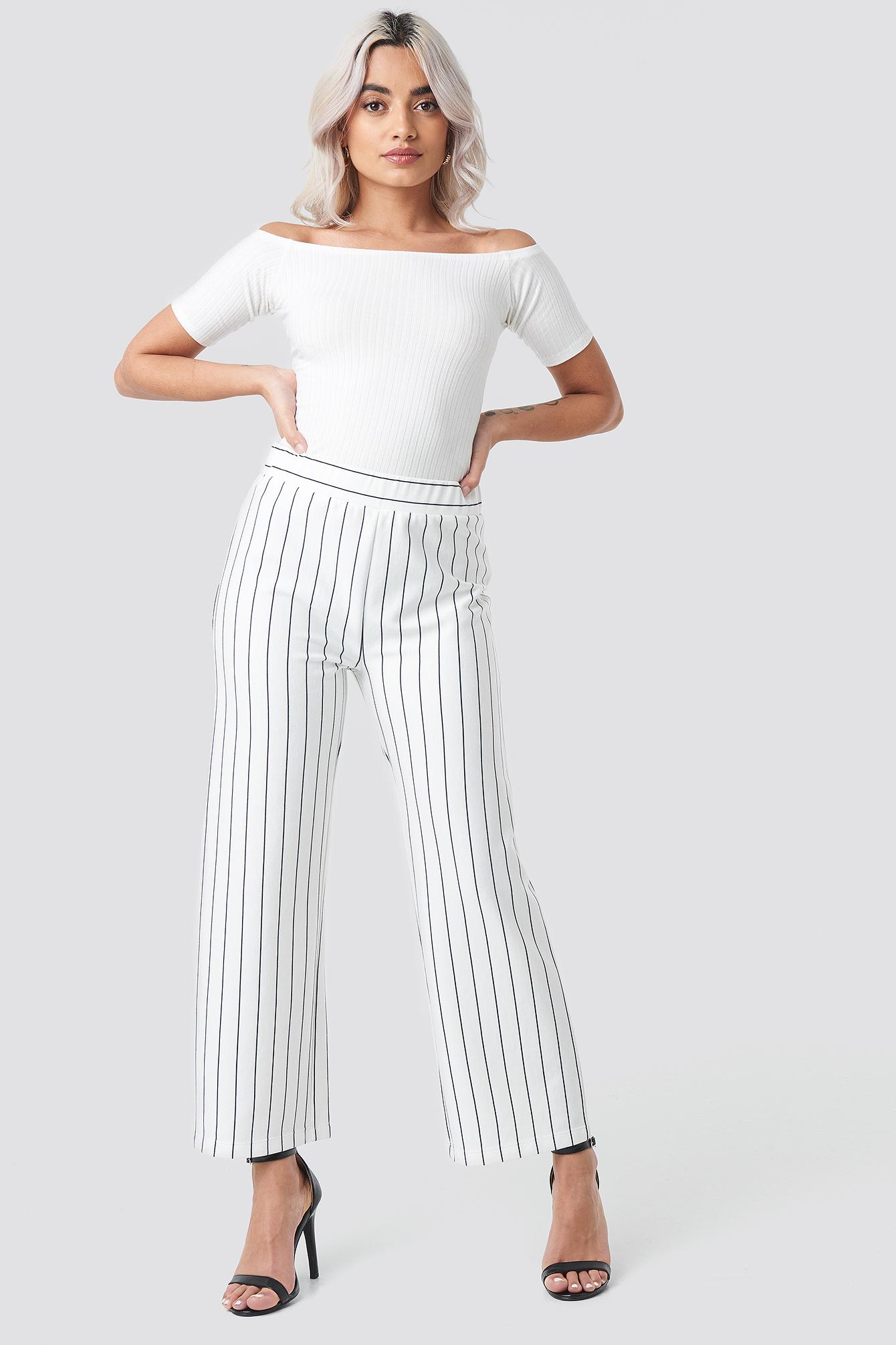 rut&circle -  Culotte Stripe Pant - White