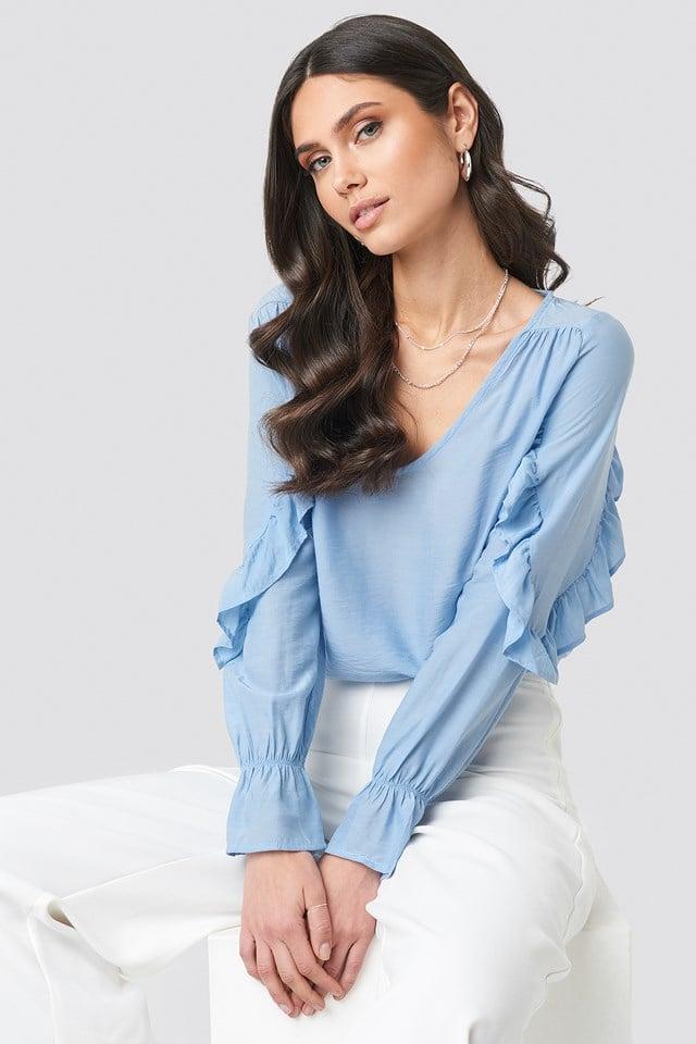 Frill Sleeve Blouse Mid Blue