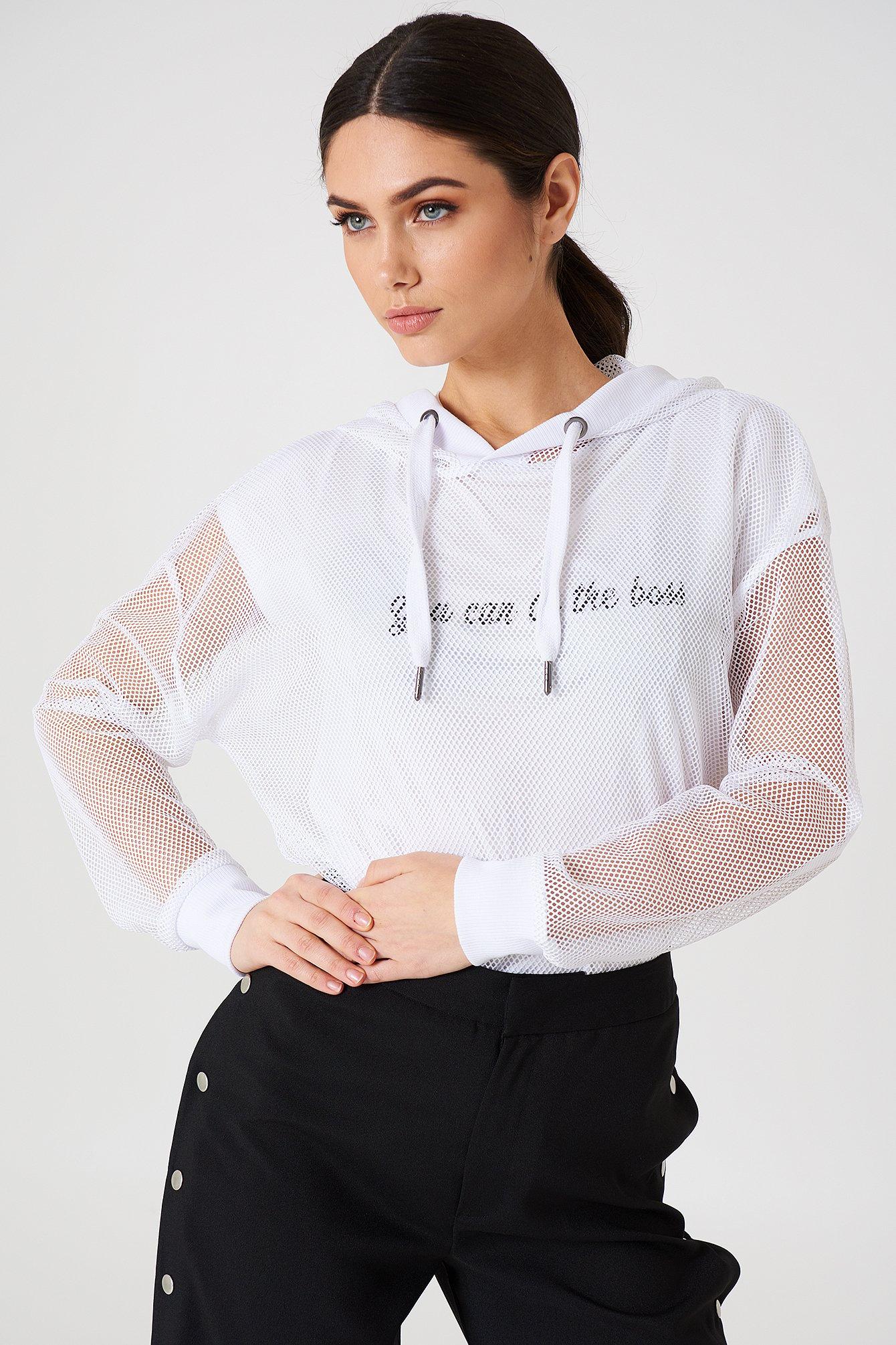 rut&circle -  Oversized Mesh hoodie - White