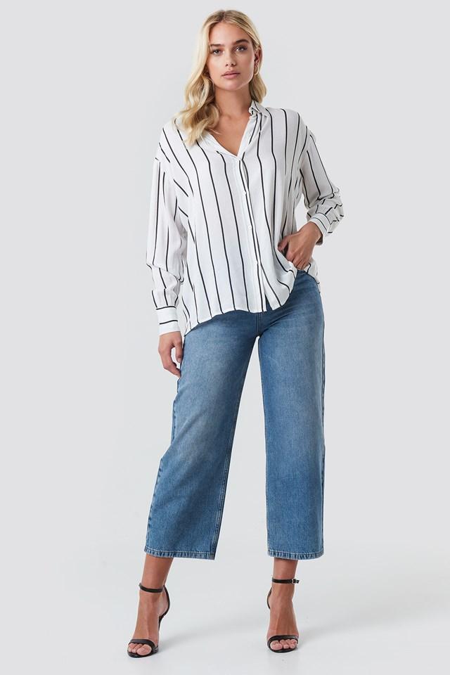 Oversized Stripe Shirt White/Black