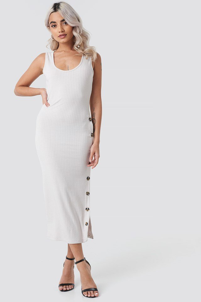 Ribbed Button Dress NA-KD.COM
