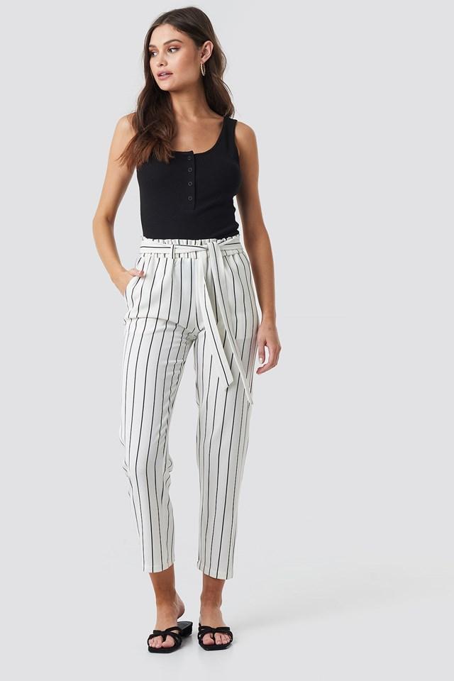 Striped Ofelia Pant White/Black
