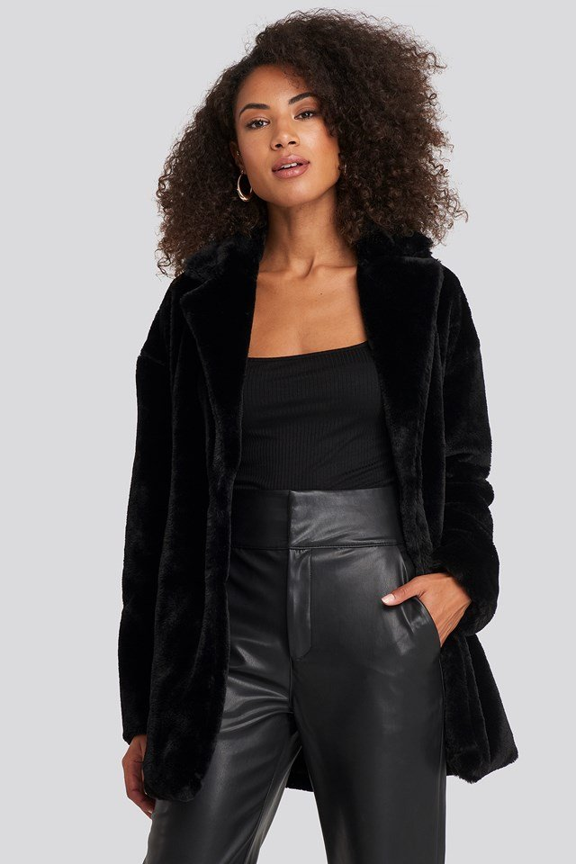 Tyra Faux Fur Jacket Black