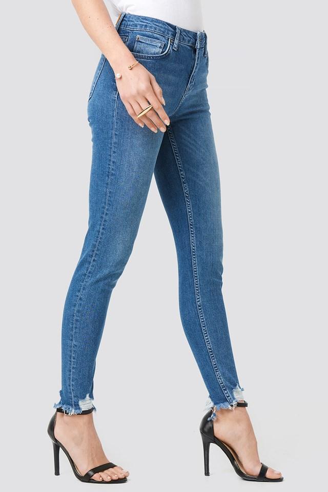 Victoria Destroyed Hem Jeans Blue Wash