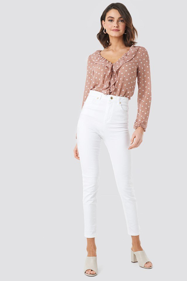 Frill Wrap Blouse Old Rose