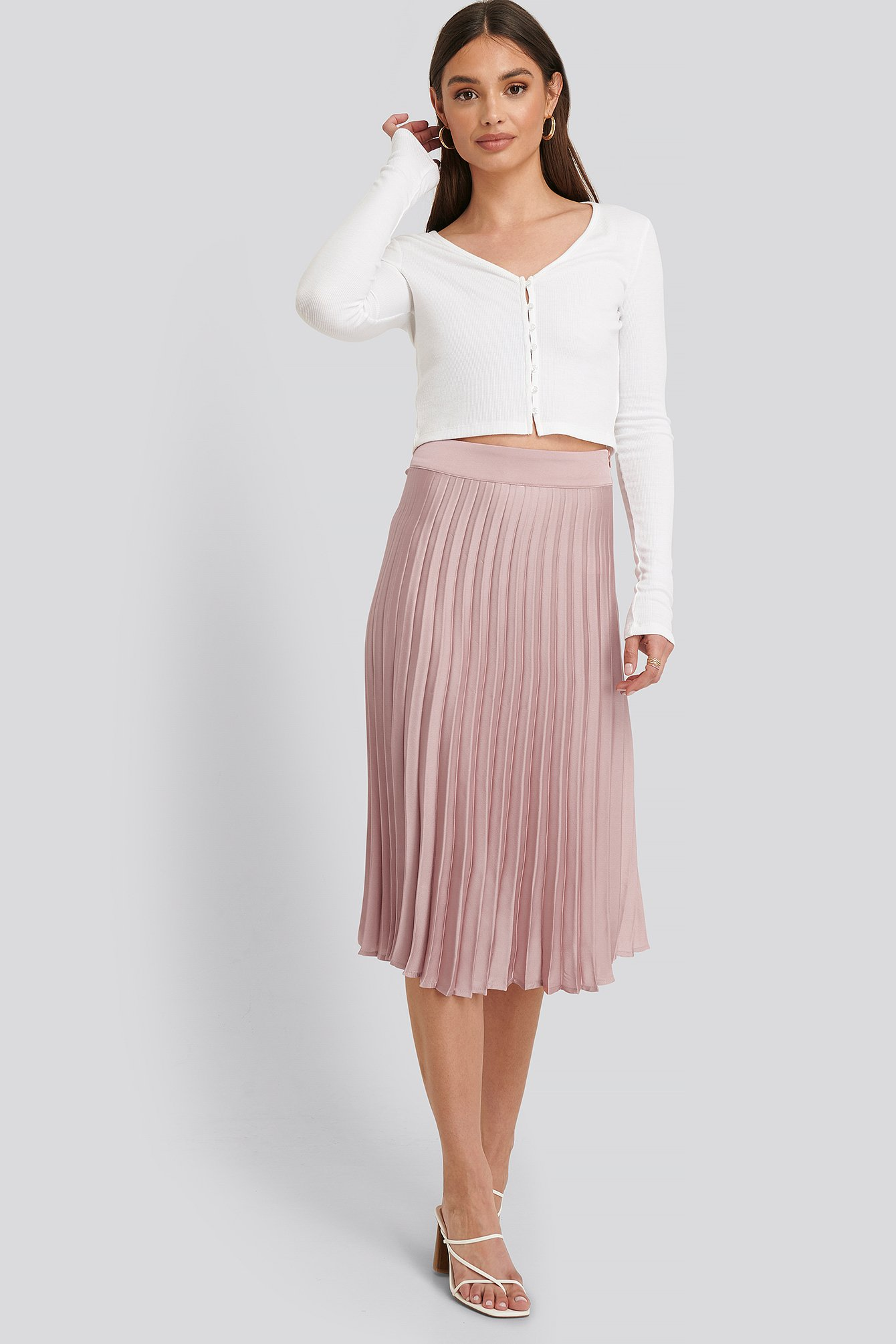 Dusty Pink Bianca Pleated Skirt