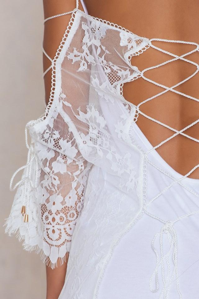 Sense Lace-Up Tunic White Lace