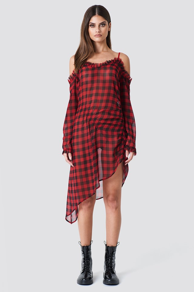 Checked Transparent Asymmetric Dress Checked