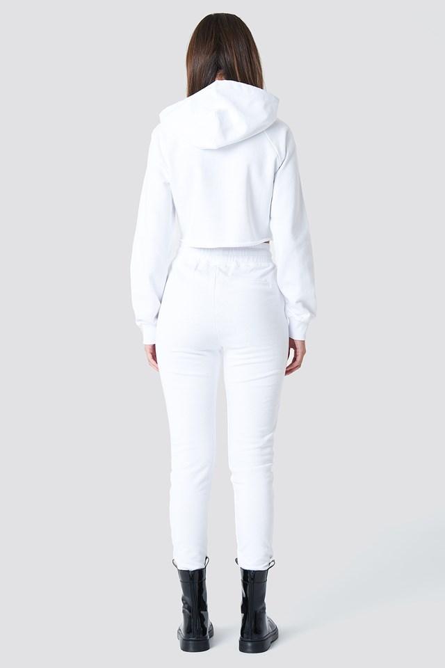 Contrast Drawstring Sweatpants White