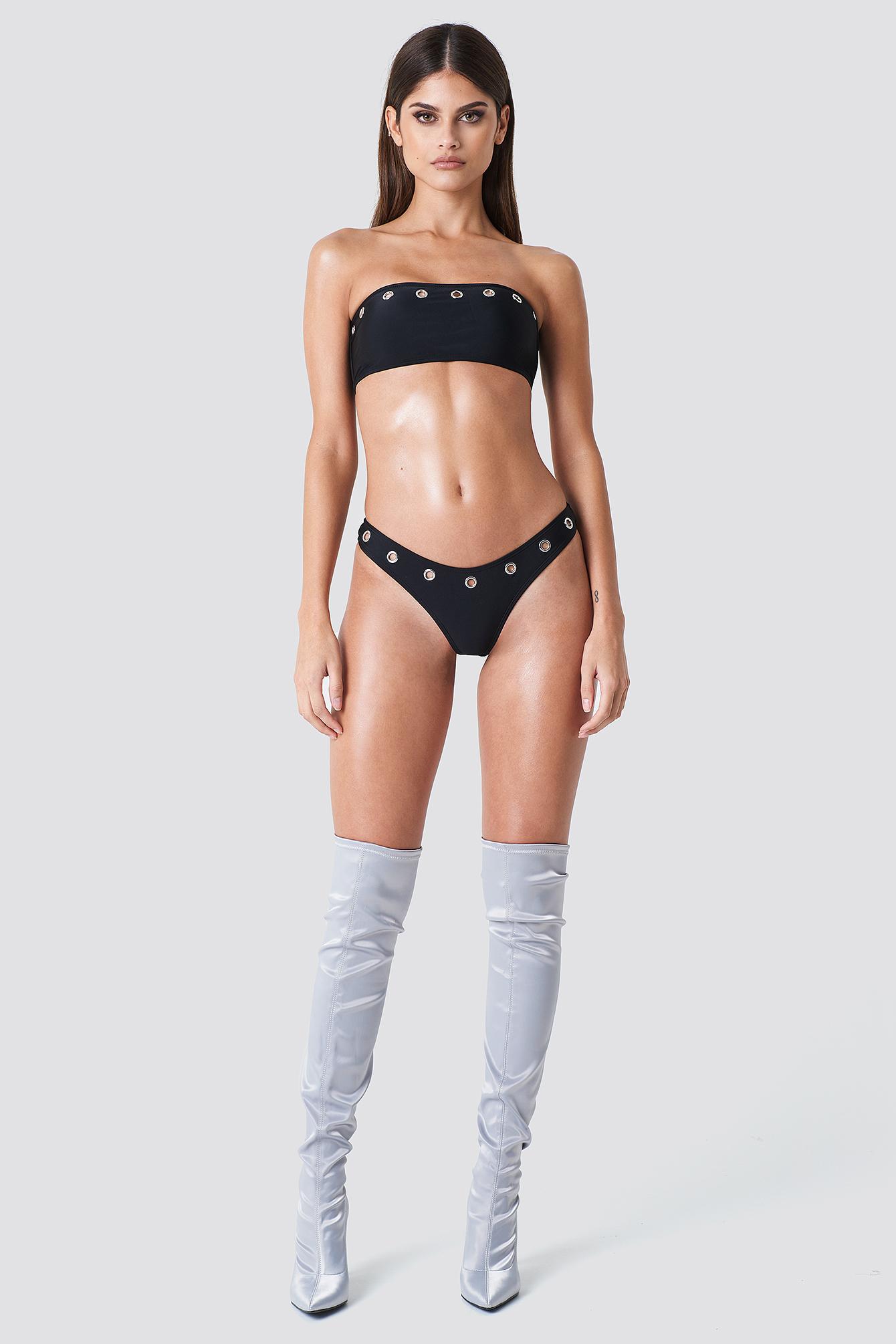 SAHARA RAY X NA-KD Eyelet Bikini Bottom - Black