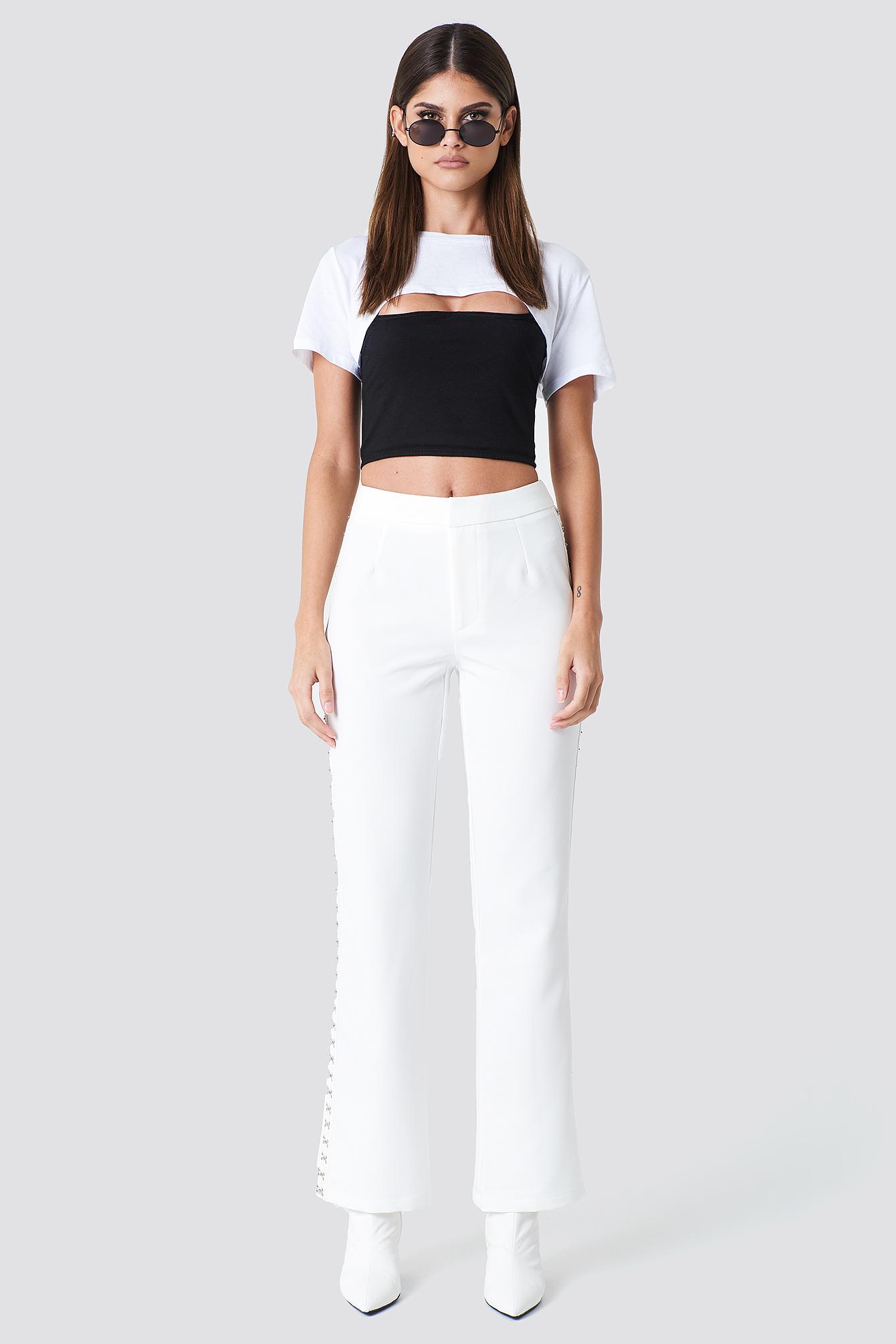 SAHARA RAY X NA-KD HOOK AND EYE PANTS - WHITE