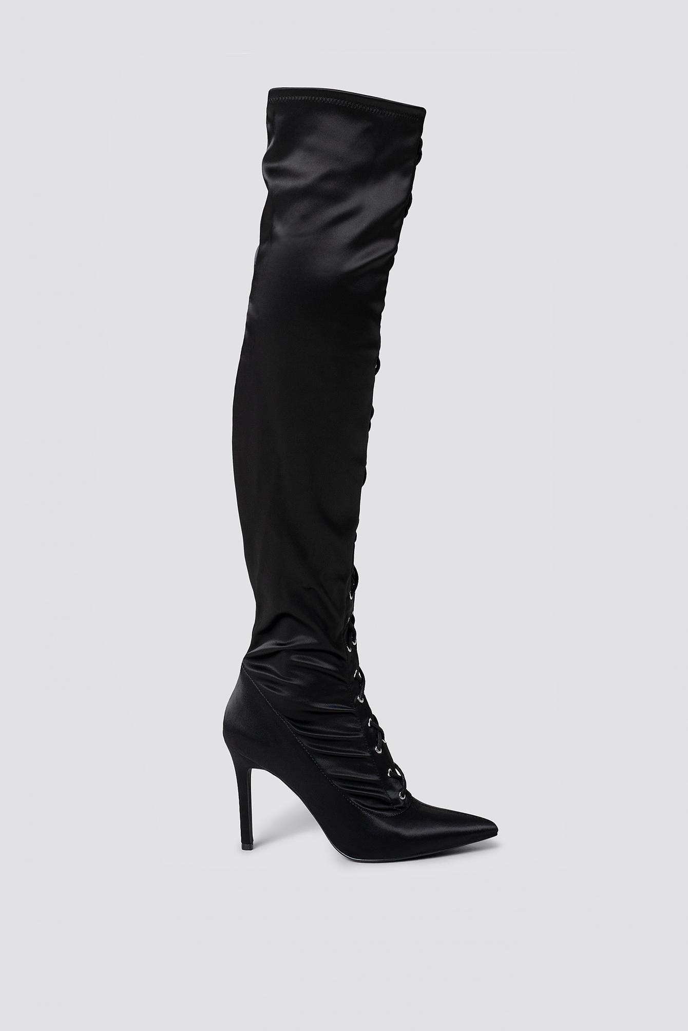 sahara ray x na-kd -  Lace Up Satin Overknee Boots - Black