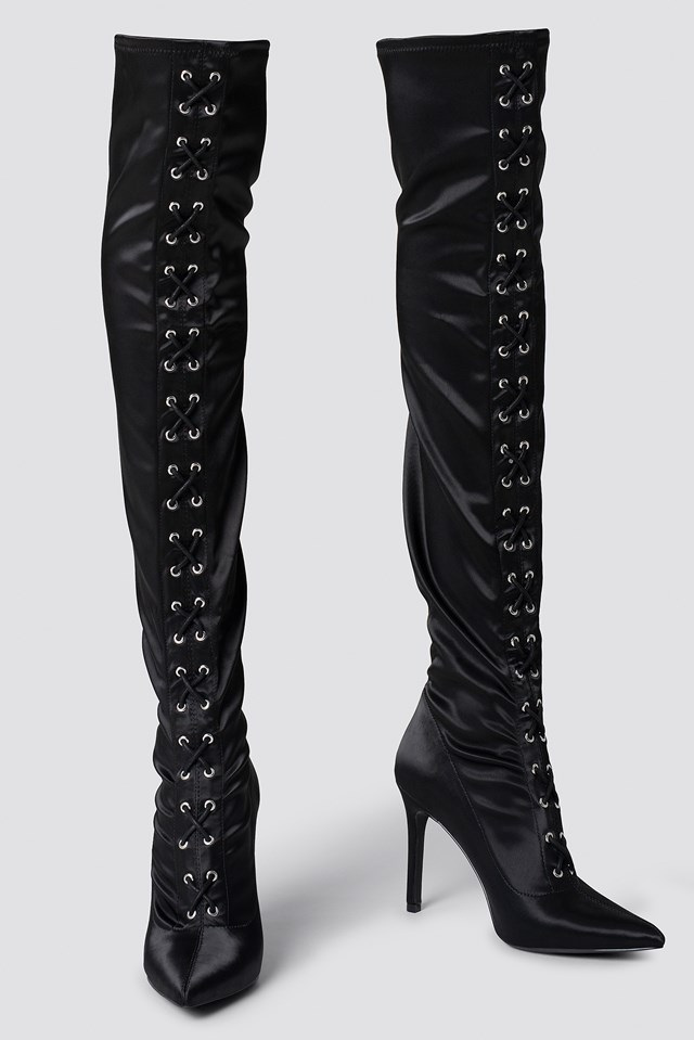 Lace Up Satin Overknee Boots Black