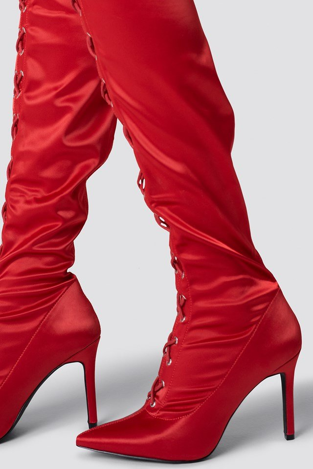 Lace Up Satin Overknee Boots Red