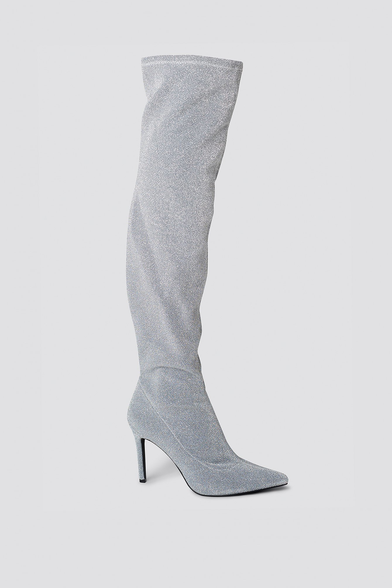 NA-KD Lurex Overknee Boots - Silver MGyW35H