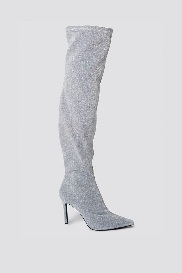 Lurex Overknee Boots Silver Glitter