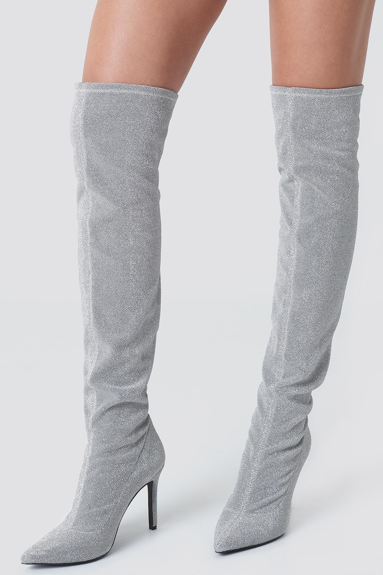 sahara ray x na-kd -  Lurex Overknee Boots - Silver