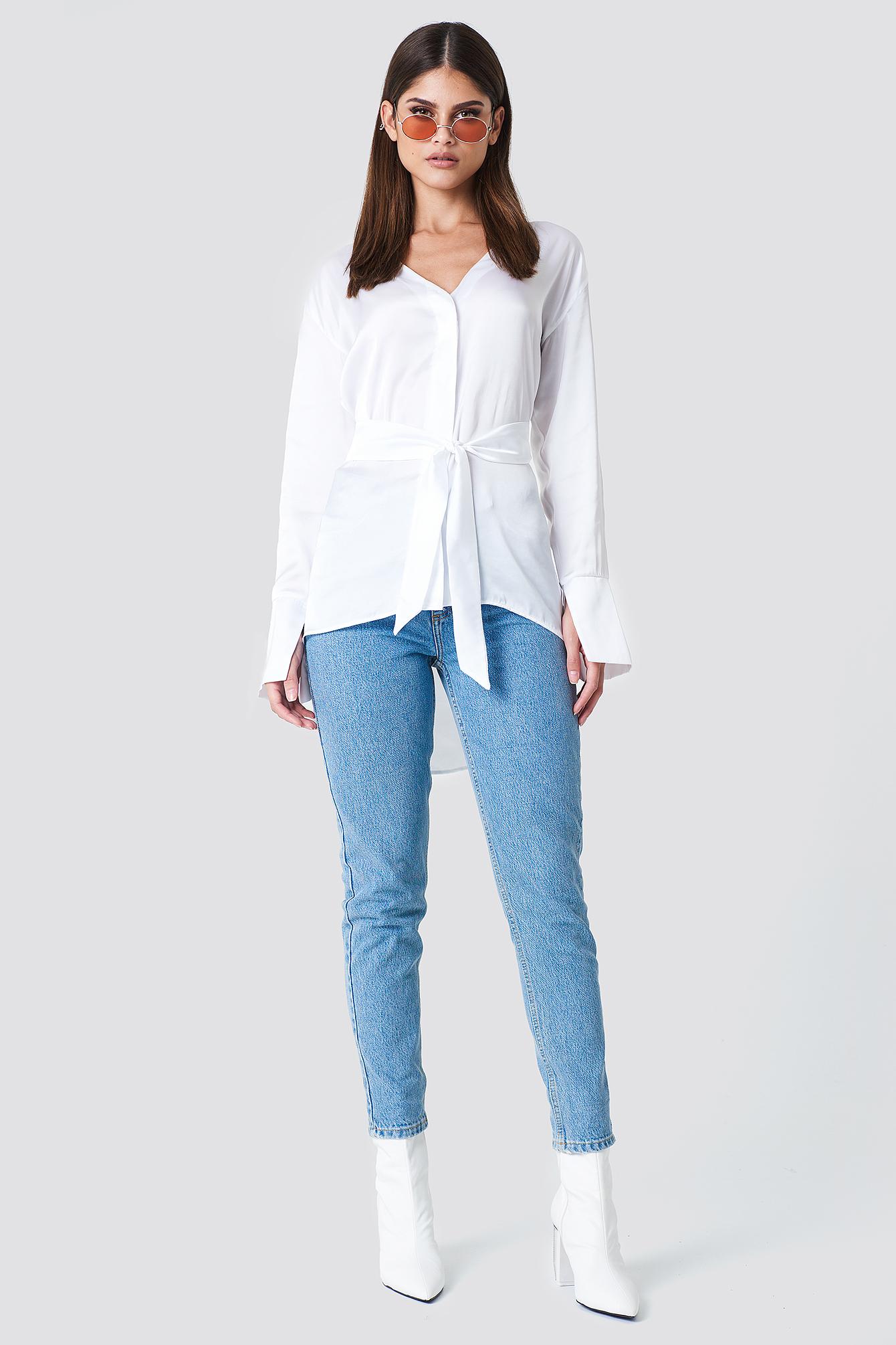 Oversized Satin Knot Shirt NA-KD.COM