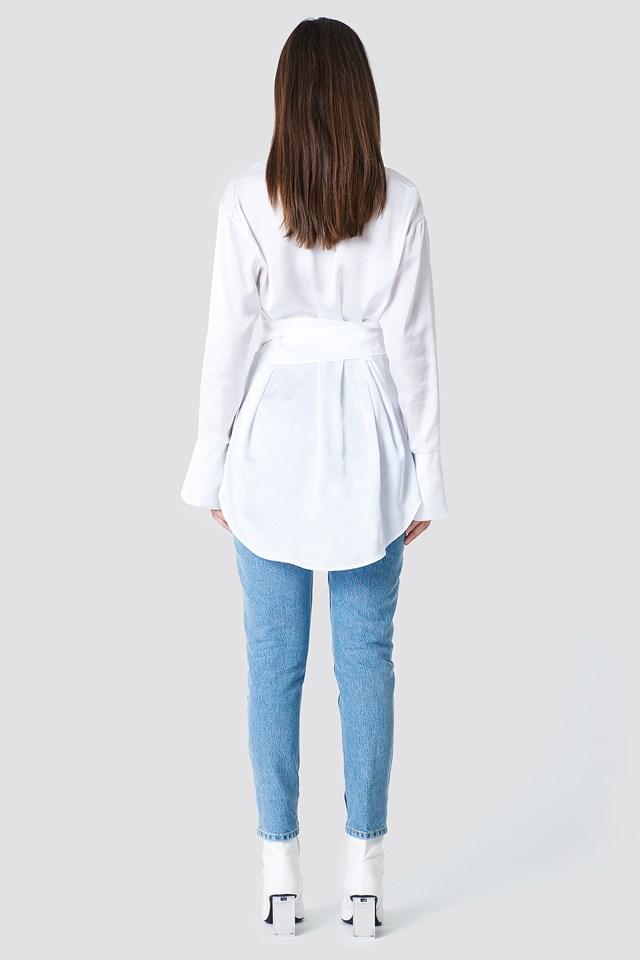 Oversized Satin Knot Shirt White