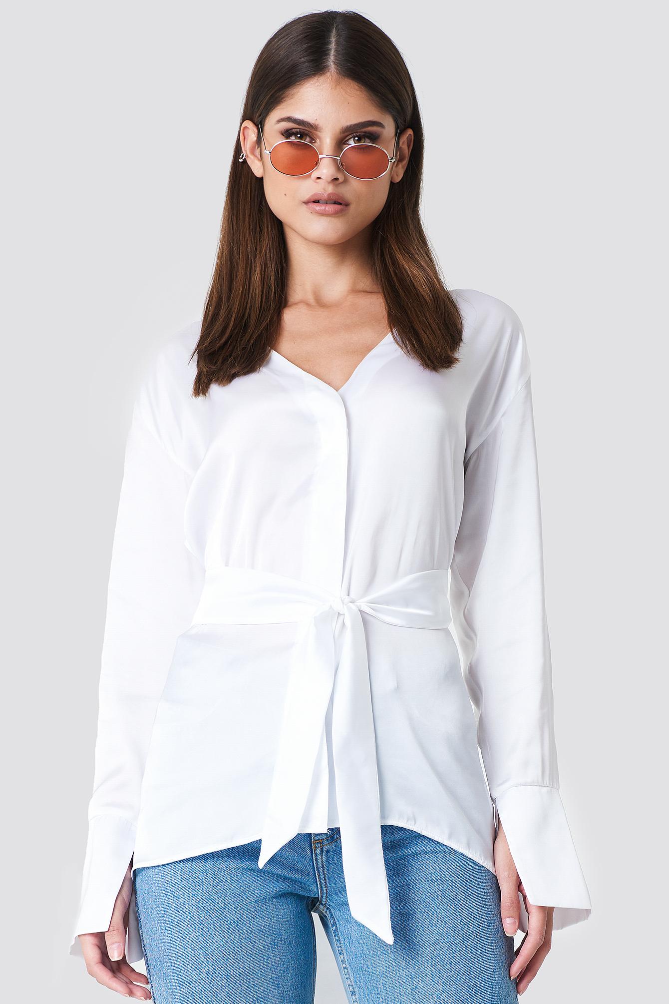 SAHARA RAY X NA-KD Oversized Satin Knot Shirt - White