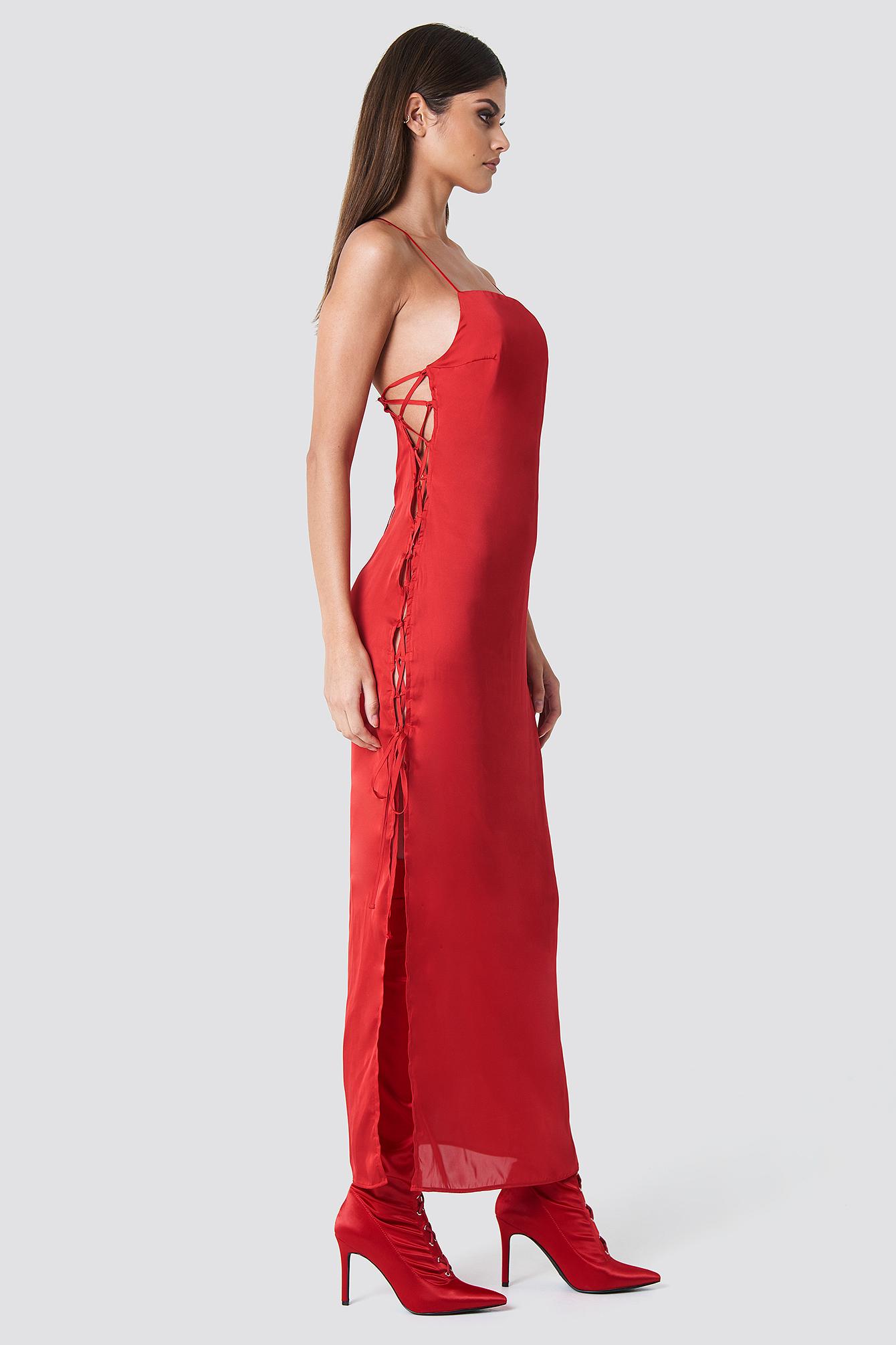 SAHARA RAY X NA-KD Long Satin Lacing Dress - Red