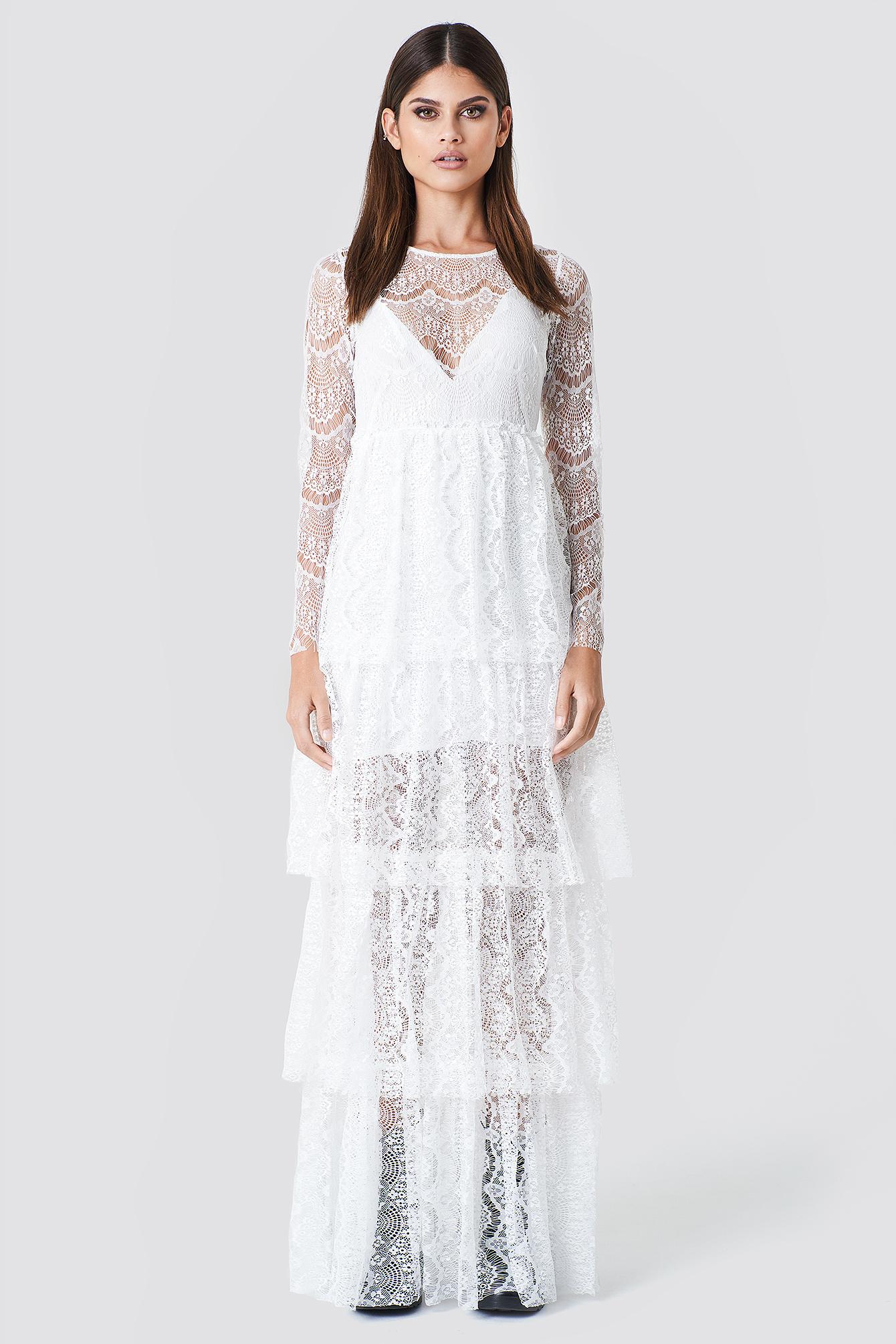 SAHARA RAY X NA-KD Long Sleeve Lace Dress - White