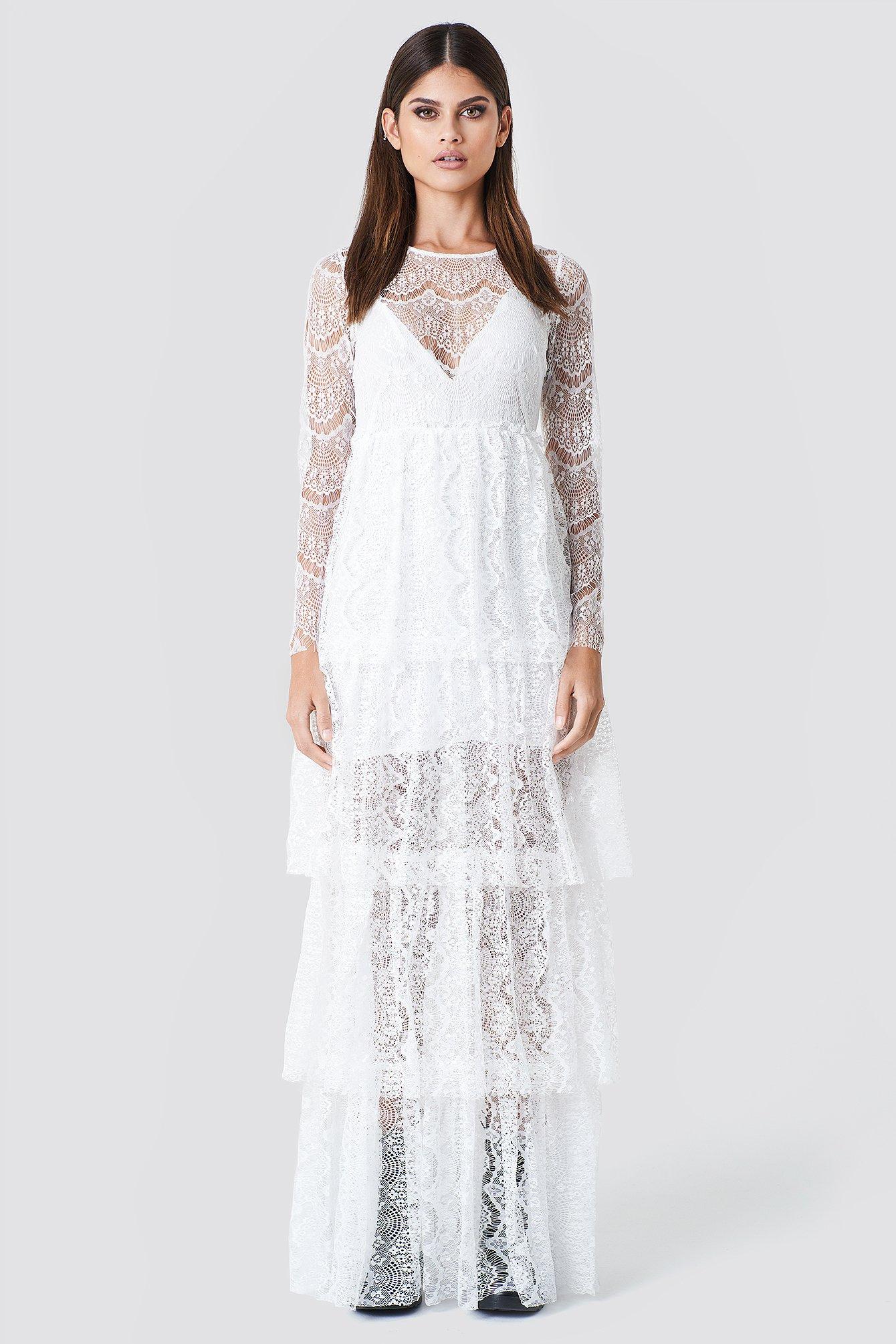 LONG SLEEVE LACE DRESS - WHITE