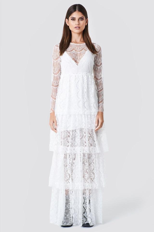 Long Sleeve Lace Dress White
