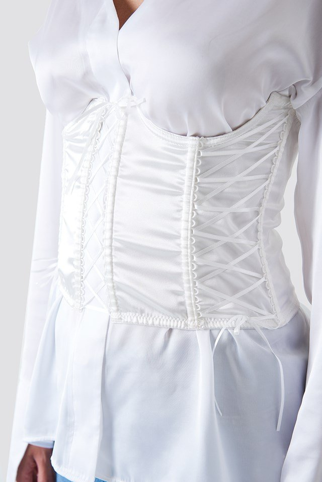 Satin Lace Up Corset Off White