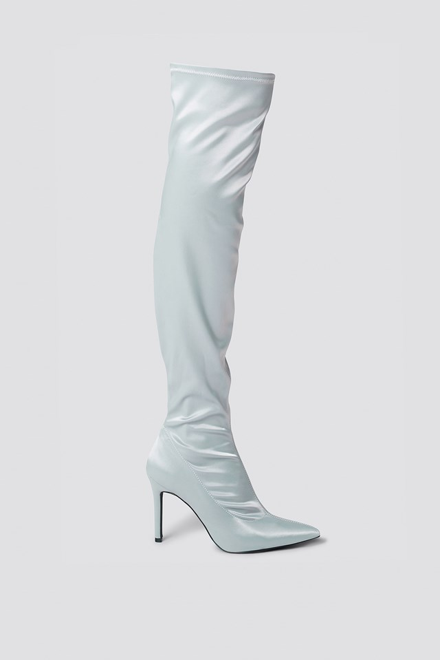 f3bef9272738 Satin Overknee Boots Silver   na-kd.com
