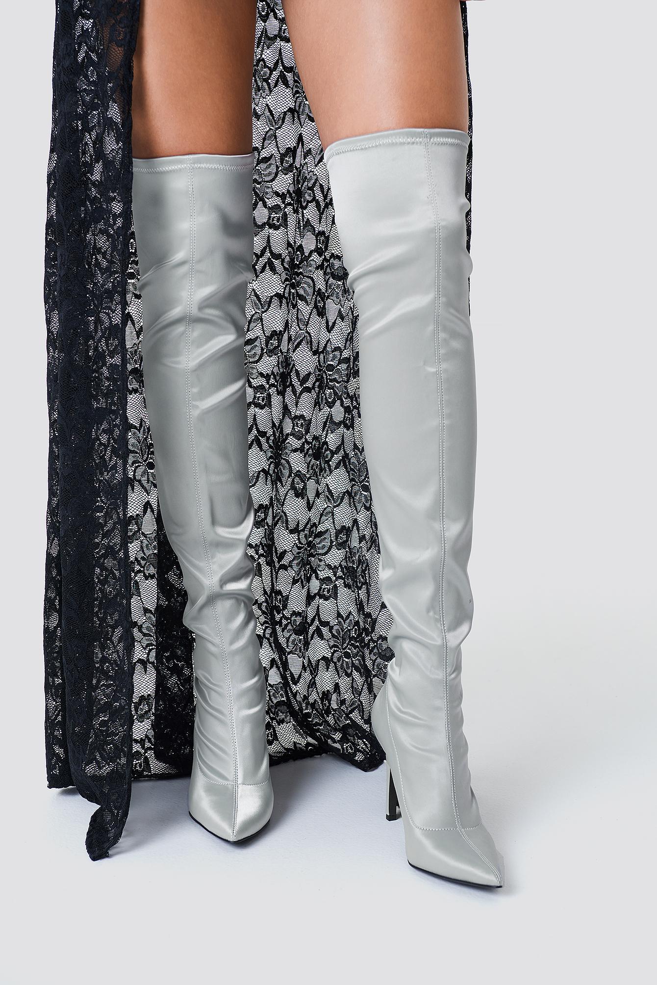 sahara ray x na-kd -  Satin Overknee Boots - Silver