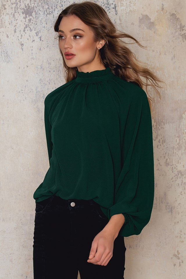 Sammy frill neck blouse Emerald Green