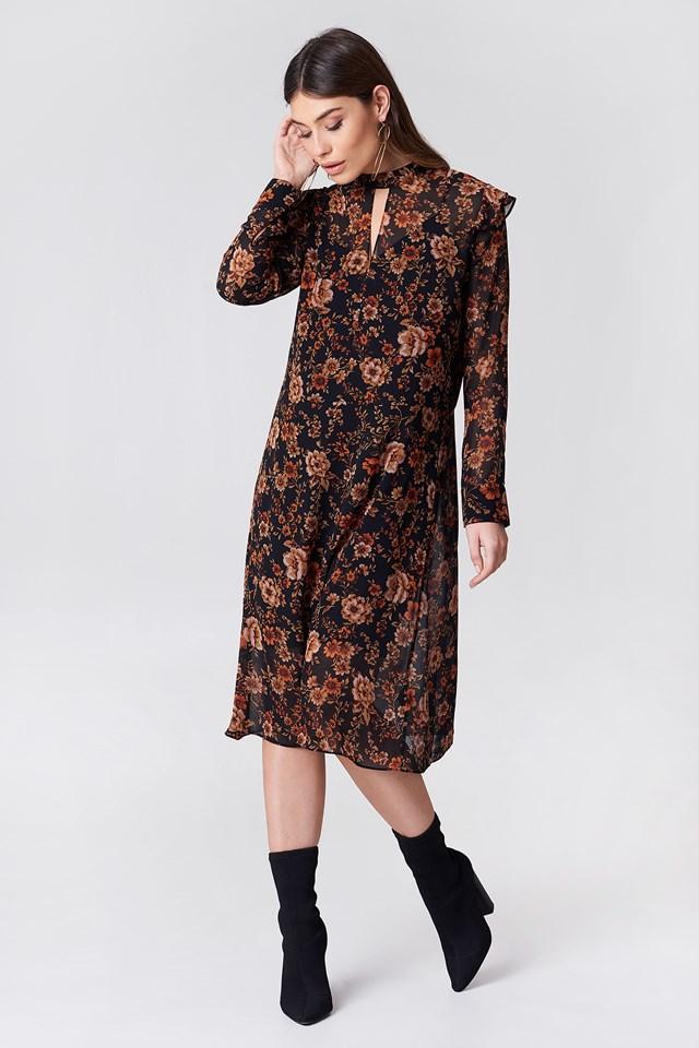 Cavan LS Dress Aop Black Bloom