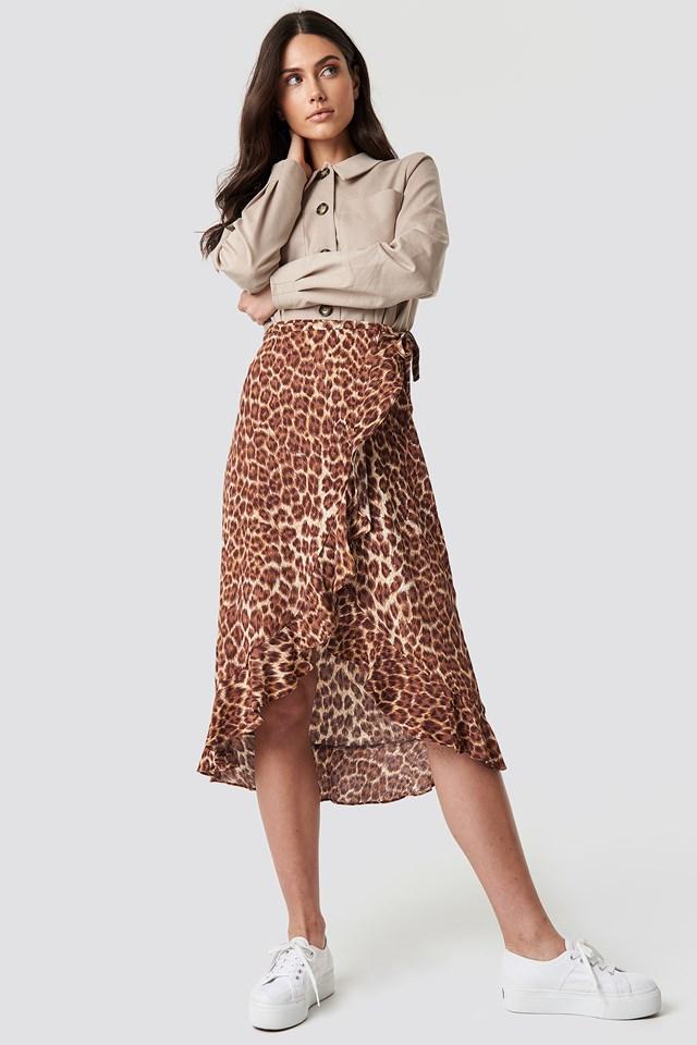 Limon L Wrap Skirt Aop Leopard
