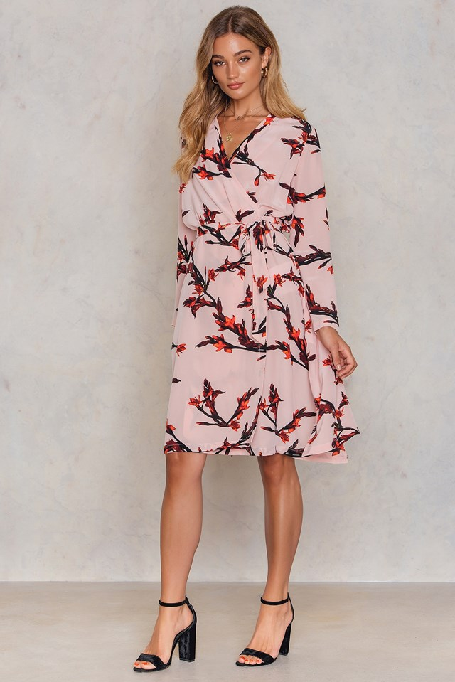 Mante LS Aop Dress Glaieful Rose