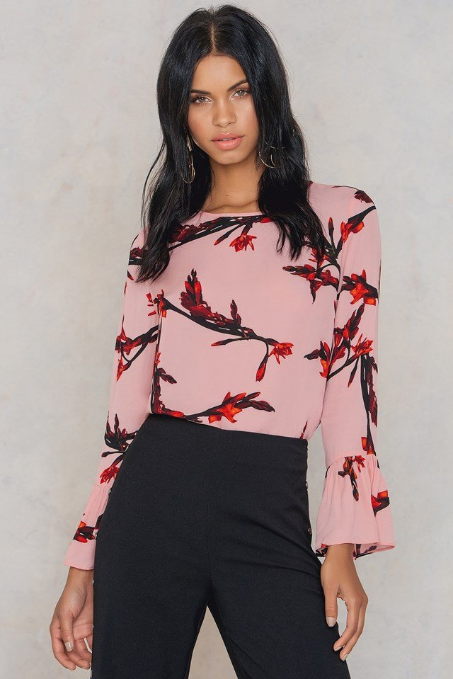 Serena LS Aop Blouse Glaieful Rose