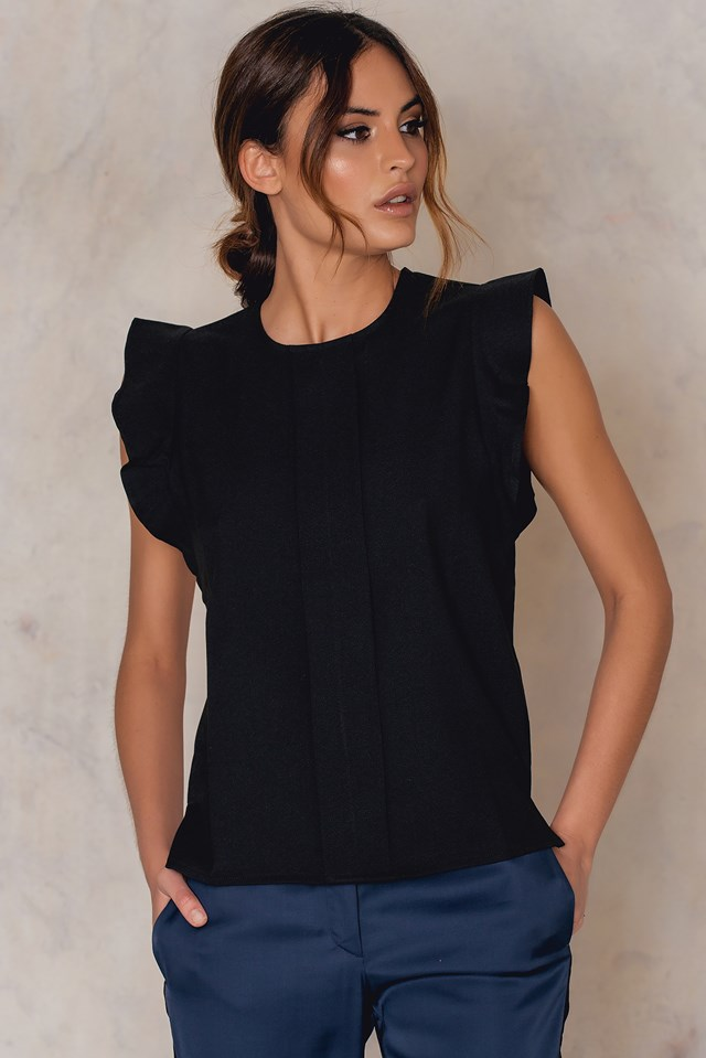 Frill Woven Top Black