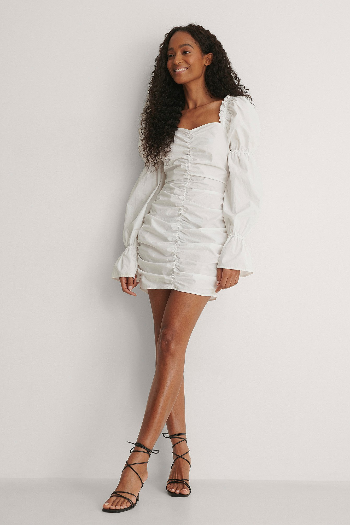 White Squared Neck Long Sleeve Dress