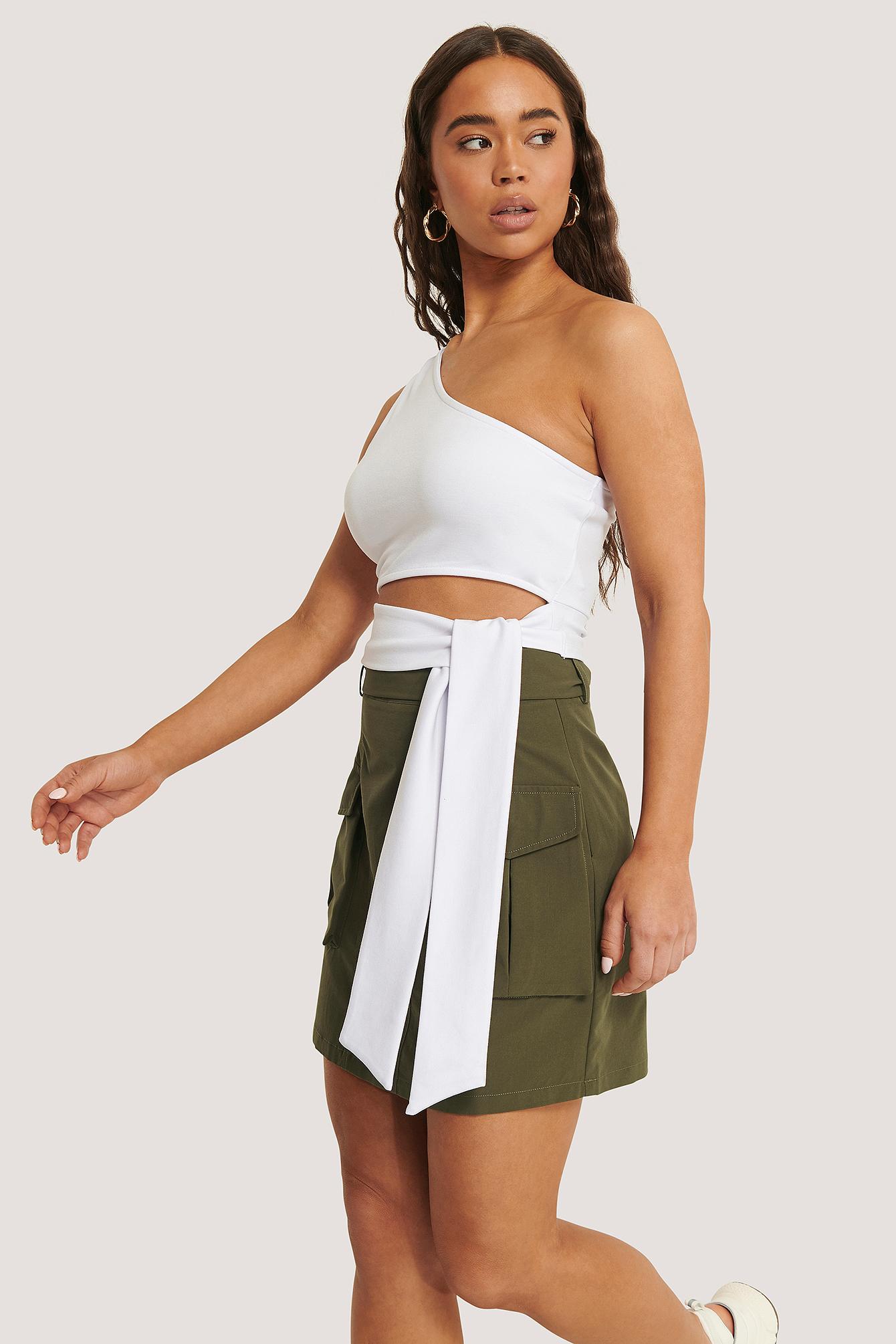 Sara Sieppi x NA-KD Pocket Belted Skirt - Green