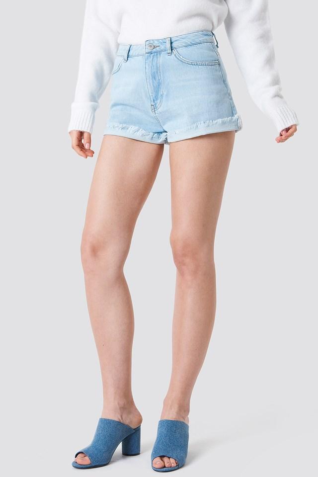 Basic Denim Shorts Light Blue Denim