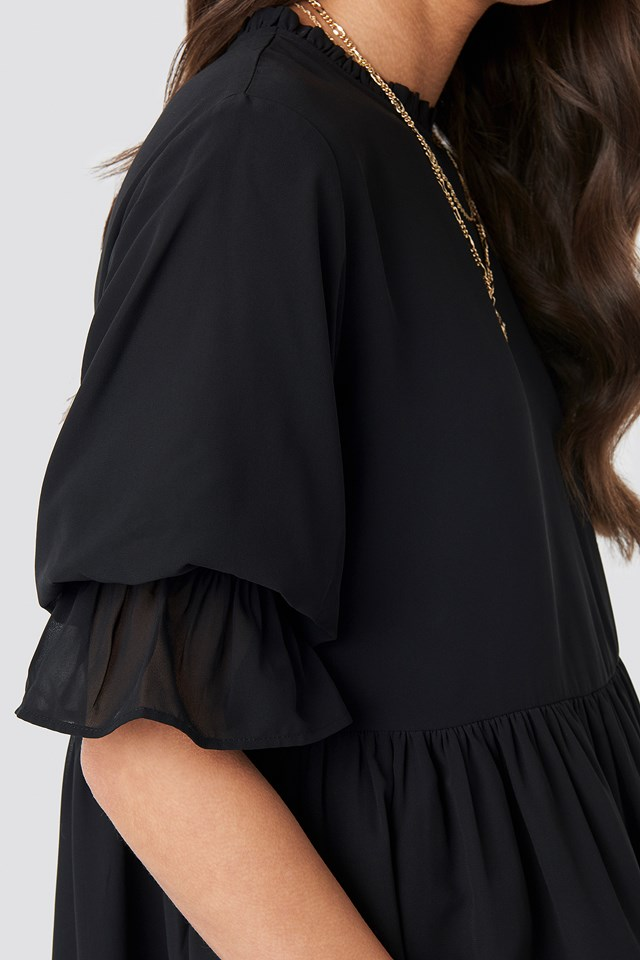 Chiffon Mini Dress Black