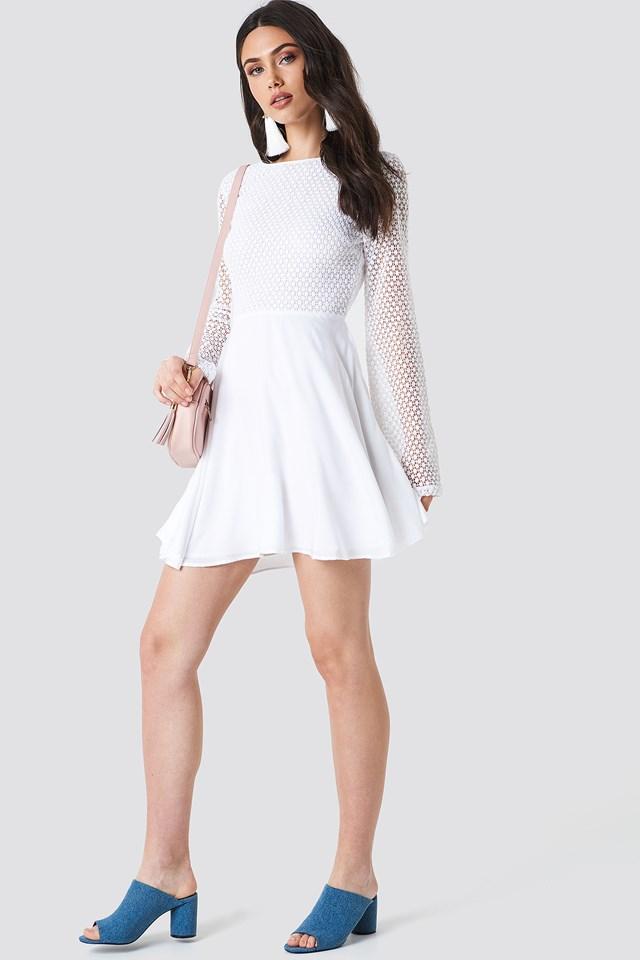 Crochet Open Back Dress White
